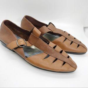 VIntage Diesse Brown Leather Flats Strappy